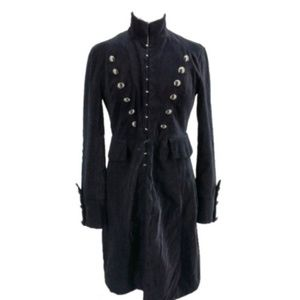 Newport News Black Velvet Military Jacket Coat